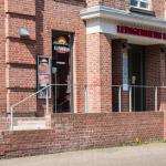 Der Haupteingang ins Ledigenheim.